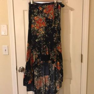 Anthropologie high-low floral skirt